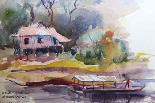 Kuala Kangsar from the Perak River 2002 – Water Colour (36 x 30 cm)