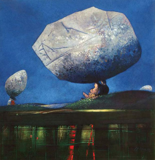 Couple condemned to live with a stone on their head – Oil/canvas (80 x 100 cm)